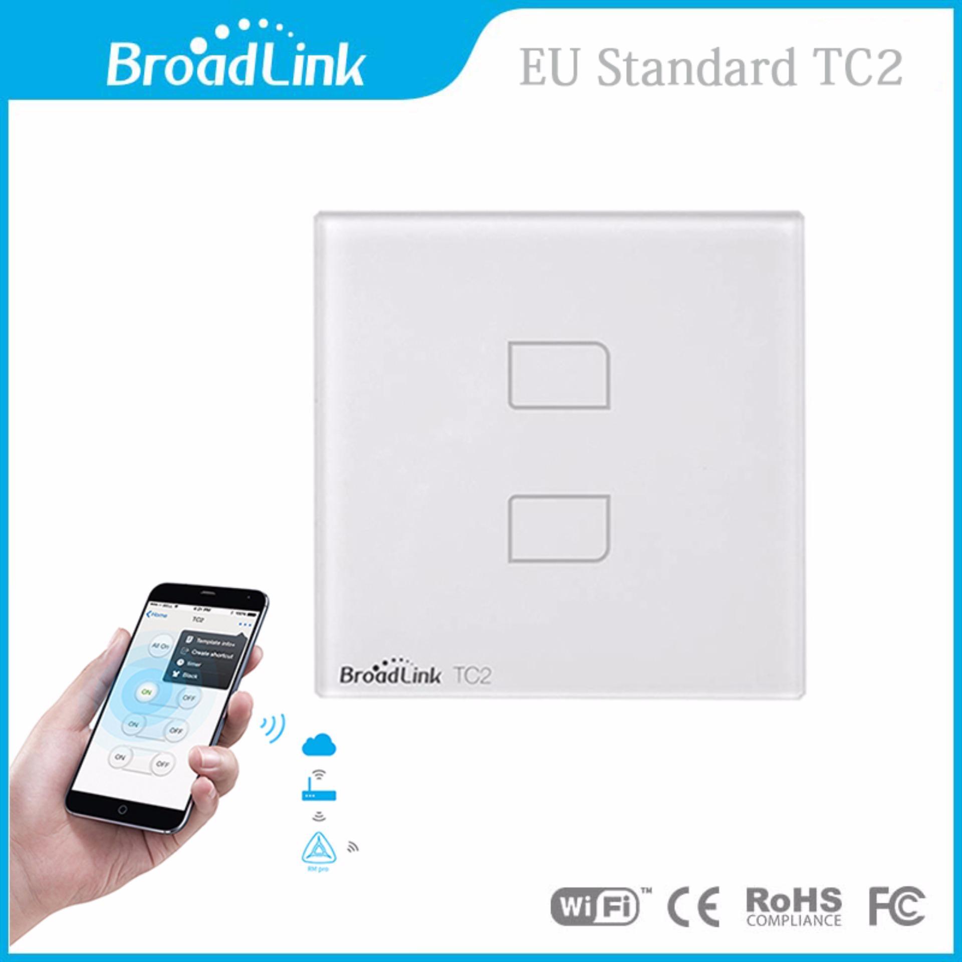 Công tắc cảm ứng, điều khiển từ xa bằng điện thoại qua wifi/3G Broadlink TC2 chuẩn EU (2 nút)